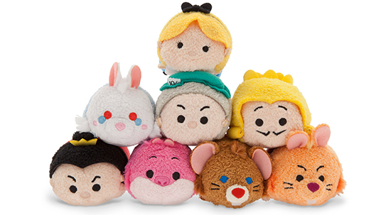 photo of eight Tsum Tsum plush stackable toys based on Alice in Wonderland