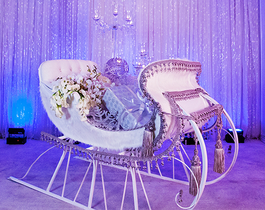 Wintery-White Frozen-Themed Reception from Disney Weddings