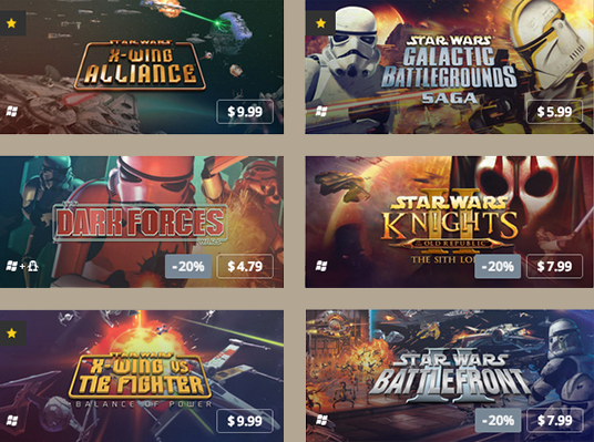 Classic Star Wars Games on GOG.com