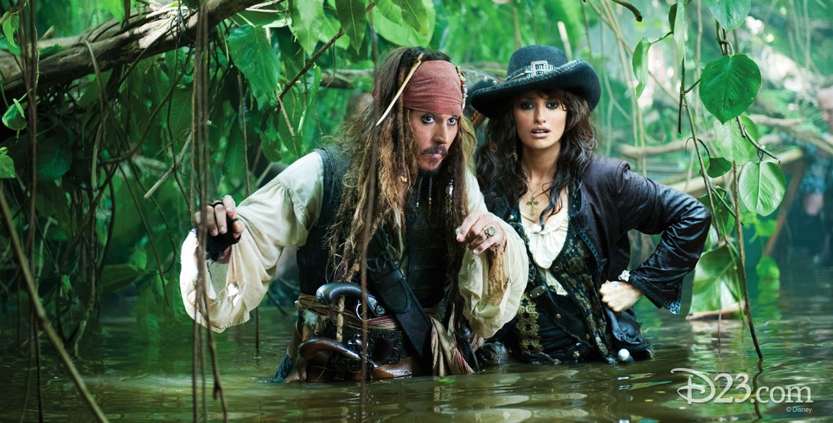 Johnny Depp and Penelope Cruz in Pirates of the Caribbean on Stranger Tides