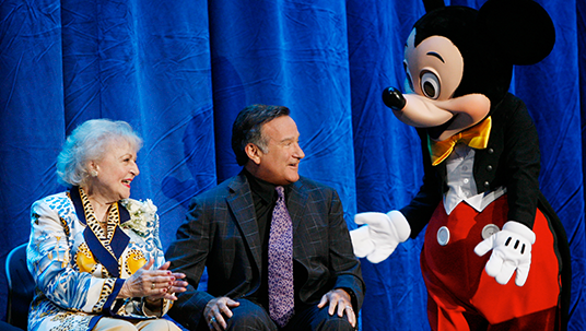 Photo of Robin Williams, Betty White and Mickey Mouse
