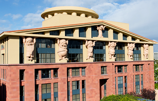 photo of the Team Disney building on the Disney Studios lot featuring the Seven Dwarfs