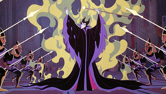 frame from animated feature Sleeping Beauty showing evil fairy Maleficent conjuring smoke and fire as lines of spear-wielding soldiers guard her