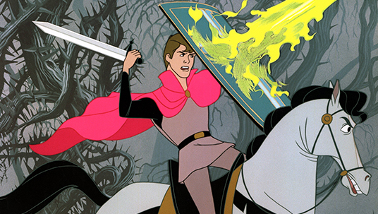cel from animated Sleeping Beauty showing prince on horse wielding sword and fending off a blast of fire with his shield