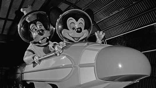 Goofy and Mickey Mouse at the Opening of Space Mountain