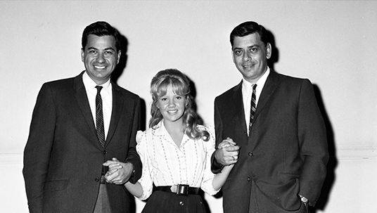 Richard and Robert Sherman flank Hayley Mills.