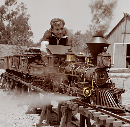 Walt Disney with the Lilly Belle steam train in 1951