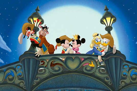 Mickey, Donald, and Goofy with their girlfriends in The Three Musketeers