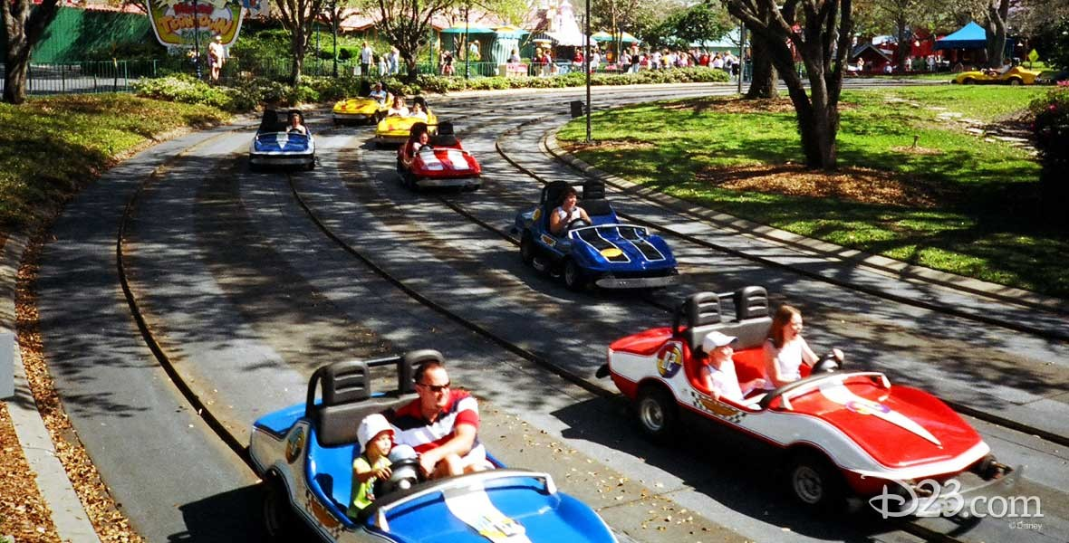 Photos of race cars on Tomorrowland Indy Speedway at Disneyland