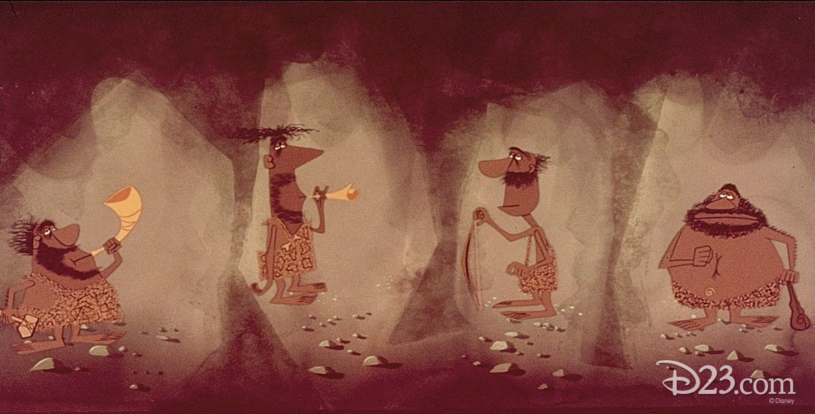 Photo of cave dwellers in Disney Animated Film Toot, Whistle, Plunk and Boom