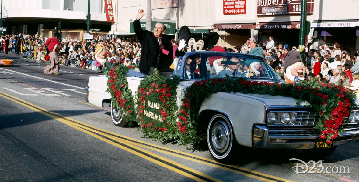 Photo of Walt Disney and Mickey Mouse riding in the Tournament of Roses Parade, Jan. 1966.