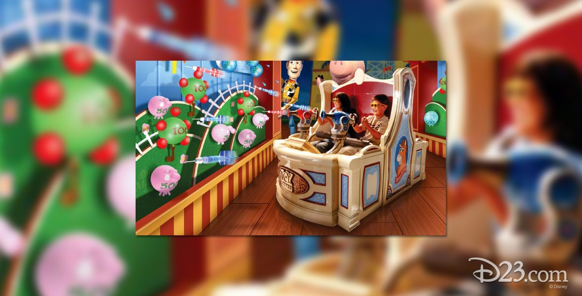 Toy Story Midway Mania Attraction at both Disney's Hollywood Studios