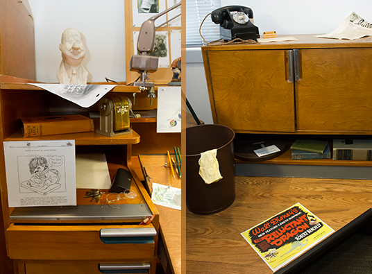 Animator's desk in the Walt Disney Archive Exhibit