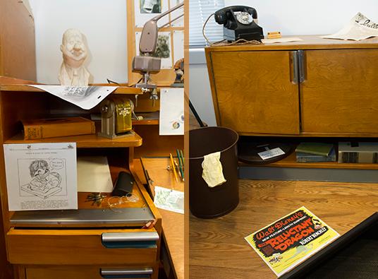 Animator's desk in the Walt Disney Archive Exhibit
