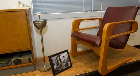 Classic animator's studio chair displayed in the Walt Disney Archive Exhibit