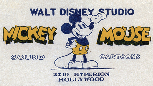 As Disney Bros. Studio grew and moved to the Hyperion Studios Mickey Mouse was added to the trademark and logo