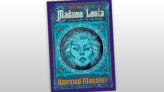cover art of book Haunted Mansion - Madame Leota: Materializing the Disembodied showing illustration of a wispy-haired woman in a crystal ball