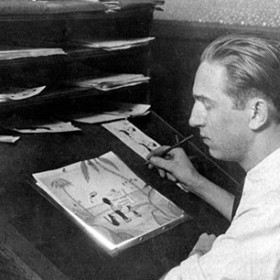 Walt Disney drawing early laugh-o-grams