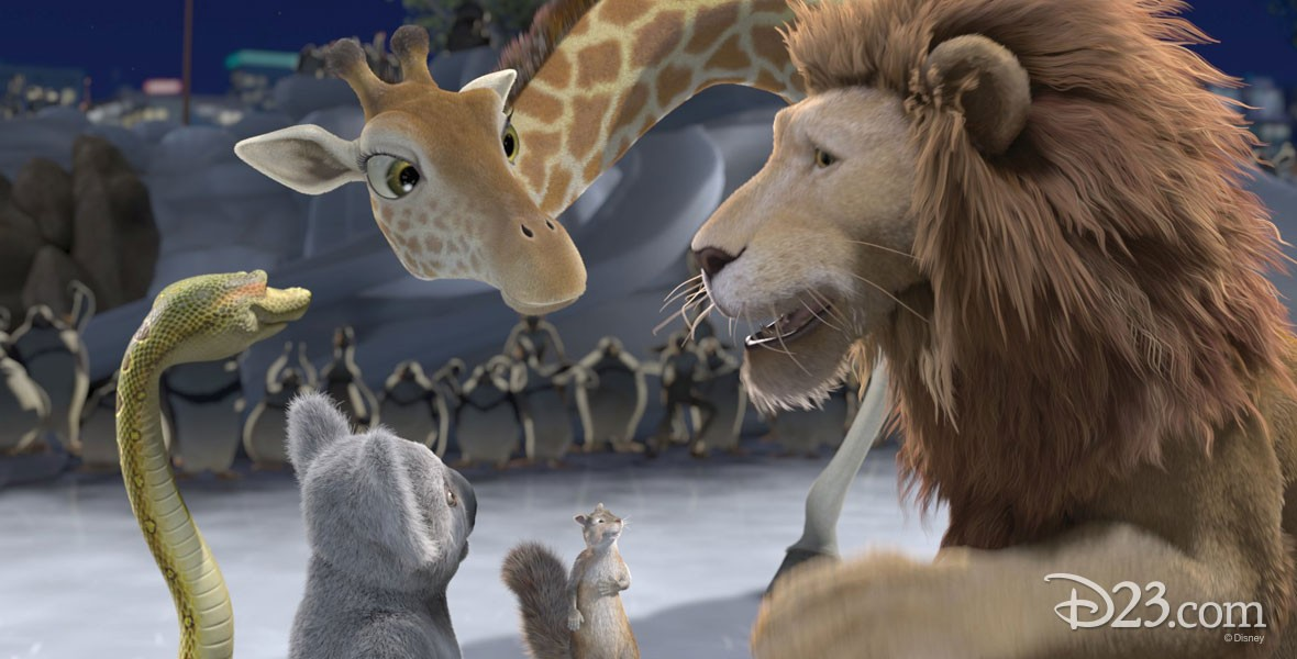 Disney film The Wild with Samson the lion, Bridget, a nearsighted, intellectual giraffe; her boyfriend Benny, a cheeky streetwise squirrel; and Larry, a boa constrictor