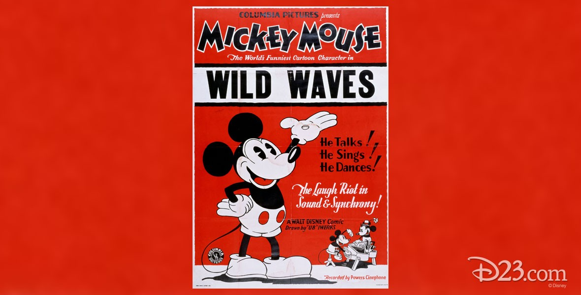 Poster for Disney Cartoon Wild Waves with Mickey Mouse