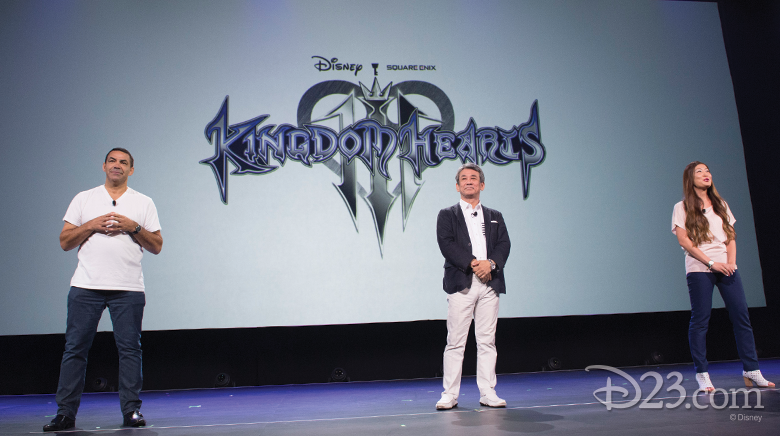 photo of Shinji Hashimoto, Larry Sparks, and Kaori Takasue on stage for Kingdom Hearts presentation