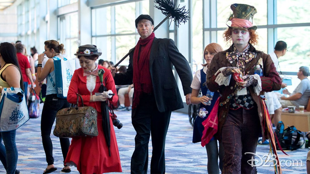Fans dressed as Mary Poppins characters at D23 EXPO 2015