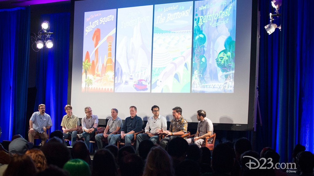 DARRIN BUTTERS, BYRON HOWARD, RICH MOORE, CLARK SPENCER, JARED BUSH, PHIL JOHNSTON, DAVE GOETZ, RENATO DOS ANJOS at D23 EXPO 2015 Zootopia! Panel