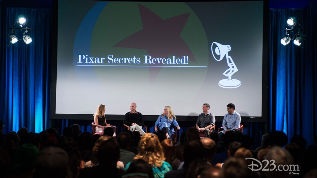 MARY COLEMAN, DAN SCANLON, DARLA ANDERSON, MARK ANDREWS, RONNIE DEL CARMEN at D23 EXPO 2015 Pixar Panel