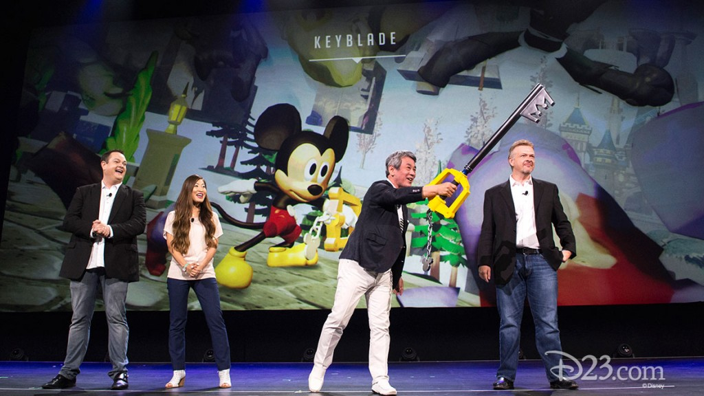 photo of John Vignocchi, Kaori Takasue, Shinji Hashimoto, John Blackburn all on stage demonstrating KeyBlade, which Shinji Hashimoto weilds