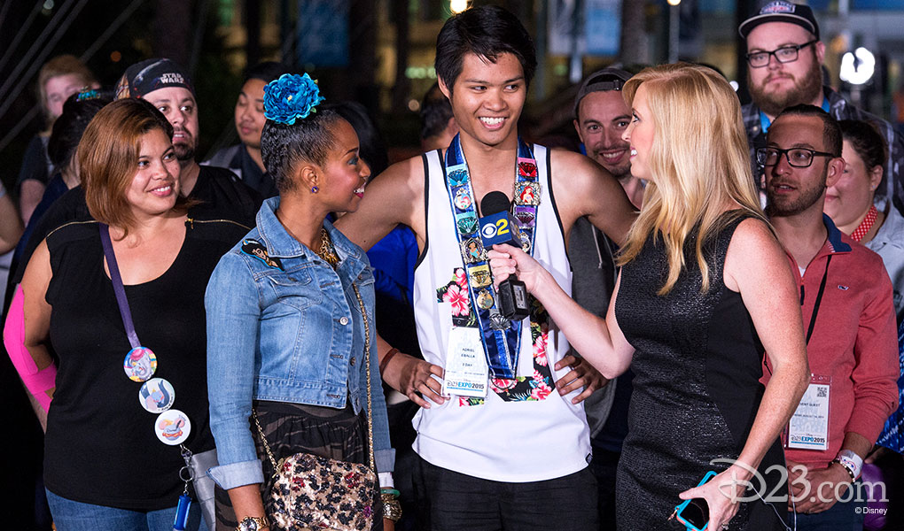 photo of guests being interviewed by Channel 2 news at D23 EXPO 2015