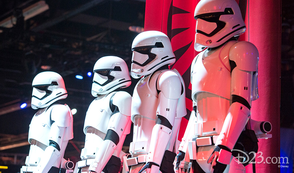 photo of four life-size Imperial Stormtroopers standing in a row