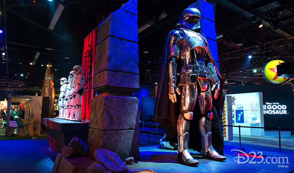 photo of Star Wars Exhibit at D23 EXPO 2015 featuring Stormtroopers and characters from upcoming Star Wars movies