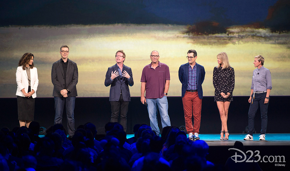 photo of assembled cast of animated movie Coco including Coco Cast: Lindsey Collins, Angus Maclane, Andrew Stanton, Ed O'Neill, Ty Burrell, Kaitlin Olson, Ellen Degeneres
