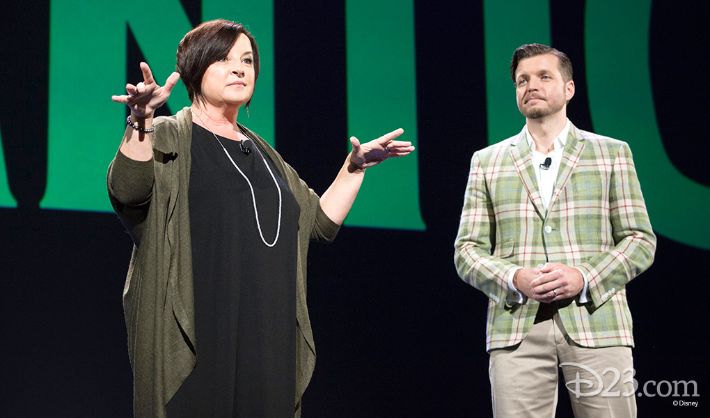 photo of Dorothy McKim and Nathan Greno on stage discussing the project Gigantic