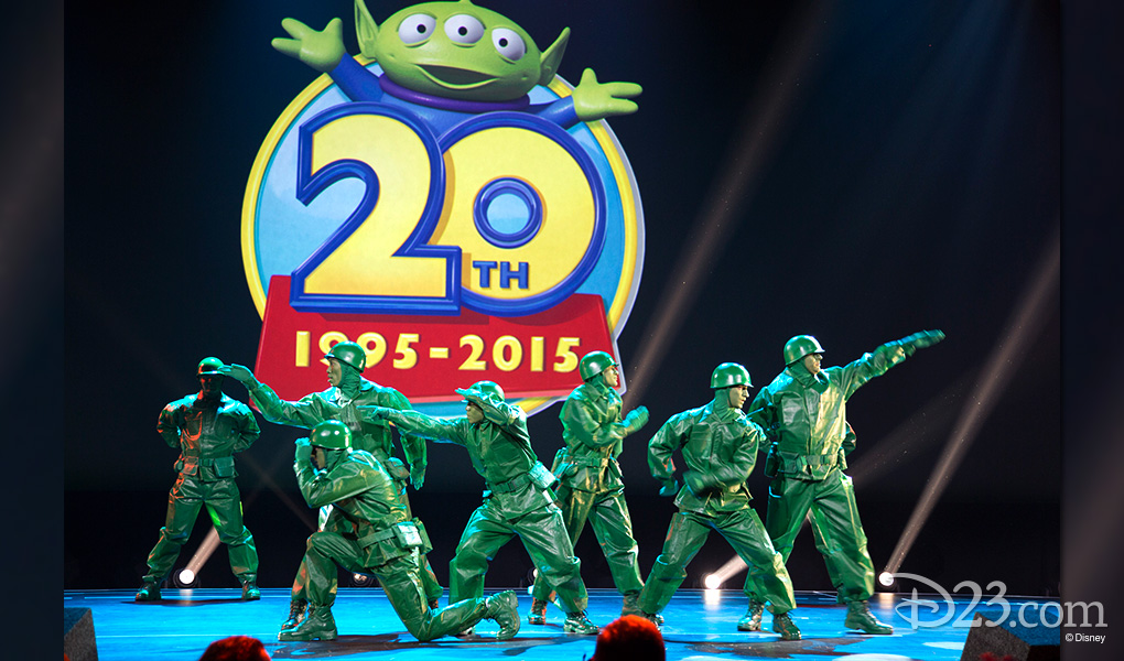 photo of stage filled with life-size Green Army Men straight out of Toy Story