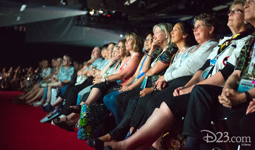 photo of seated guest audience enthralled with Animation presentation at D23 EXPO 2015