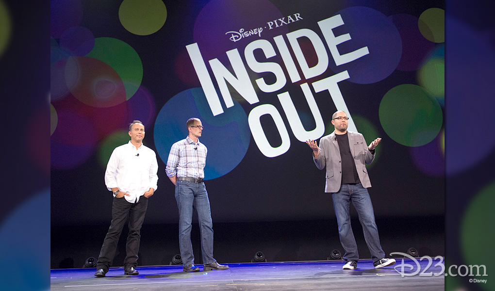 photo of Jonas Rivera, Pete Docter, Josh Cooley on stage discussing their Disney - Pixar movie Inside Out