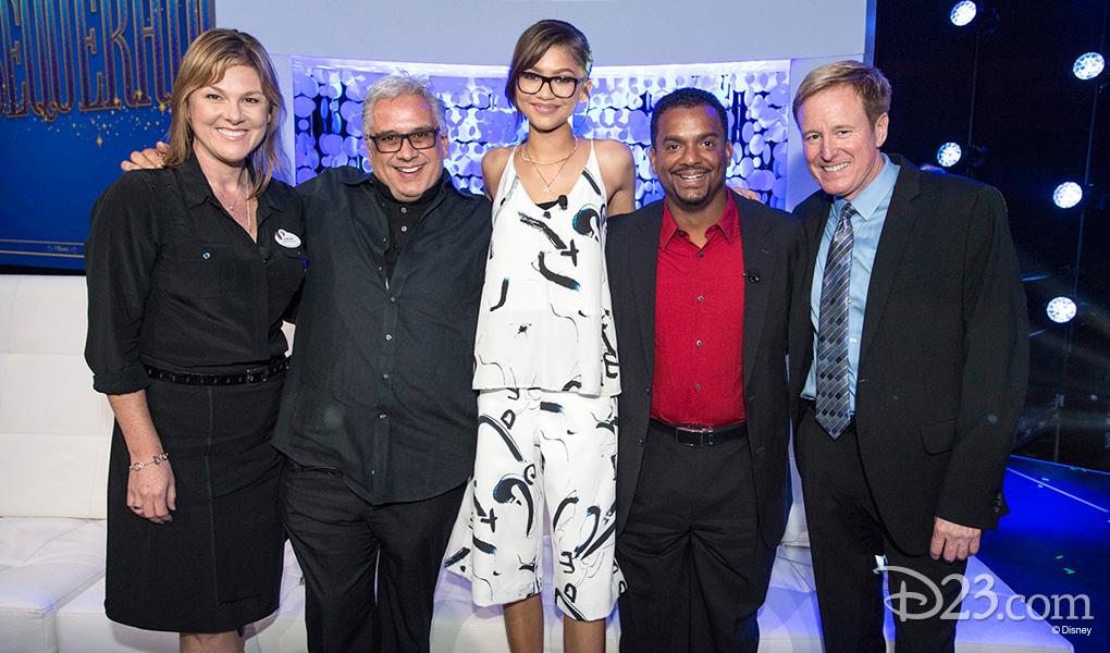 photo of Leigh Slaughter, Eduardo Castro, Zendaya, Alfonso Ribeiro and Jim Babcock at Mousequerade event of the D23 EXPO 2015