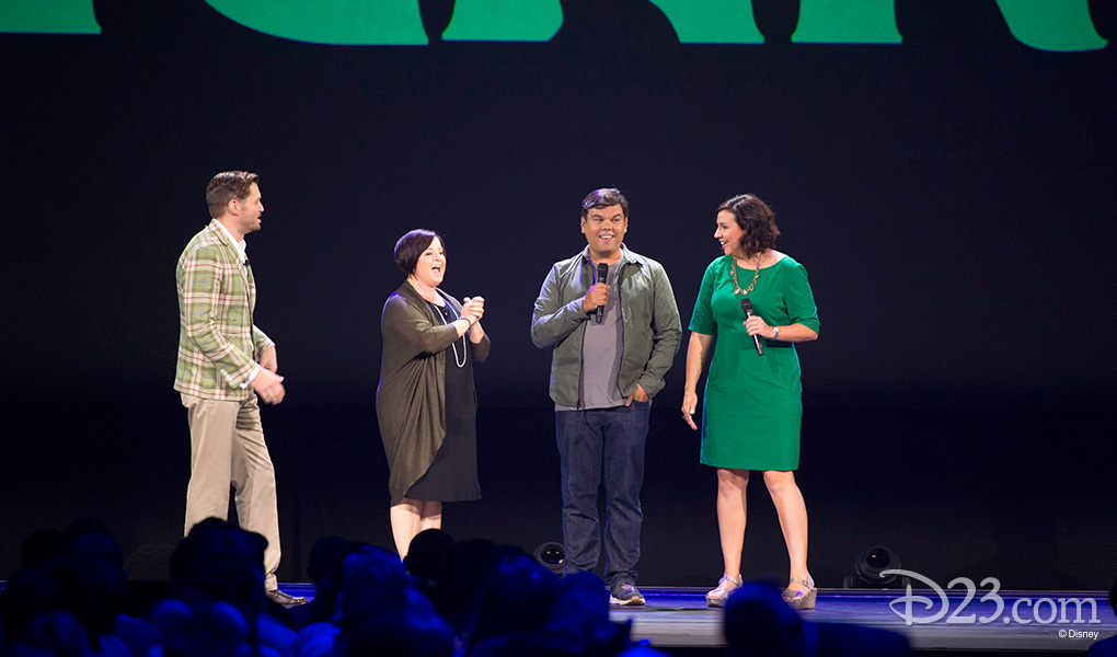 photo of Dorothy McKim and Nathan Greno on stage joined by Bobby Lopez and Kristen Anderson-Lopez discussing the project Gigantic
