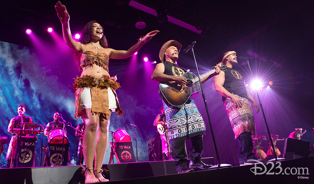 photo of musical group Te Vaka featuring singer-songwriter Opetaia Foai on stage at D23 EXPO 2015