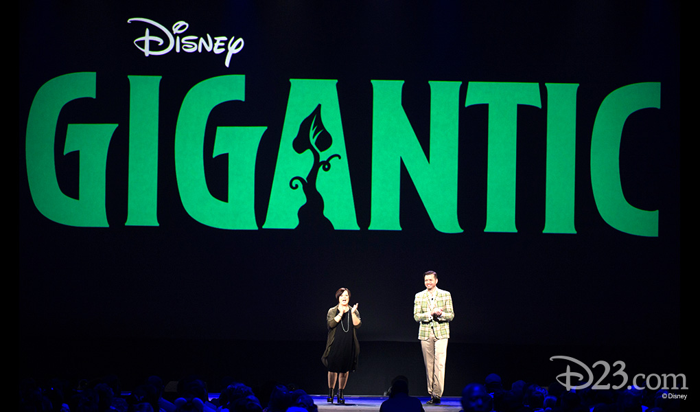 photo of Dorothy McKim, Nathan Grenod at D23 Expo 2015 showing gigantic title