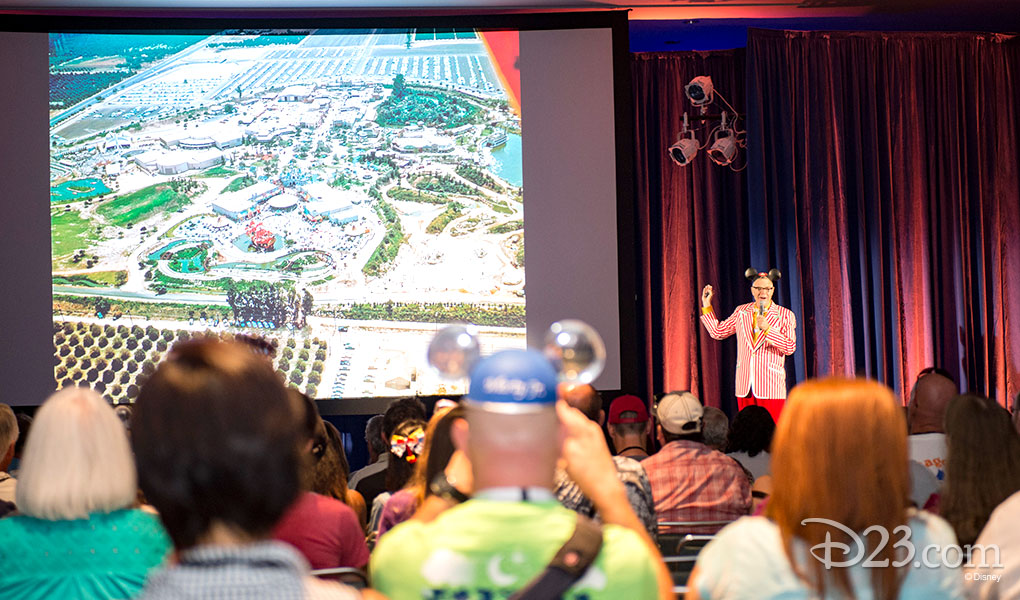 photo of audience watching Charles Phoenix giving his presentation in Stage 28 of D23 Expo 2015