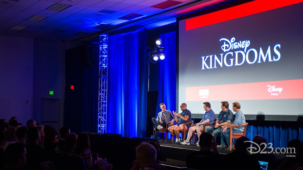 photo of panel of five men on stage, Bill Rosemann, David Gabriel, Jim Zub, Josh Shipley, Thomas K. Morris
