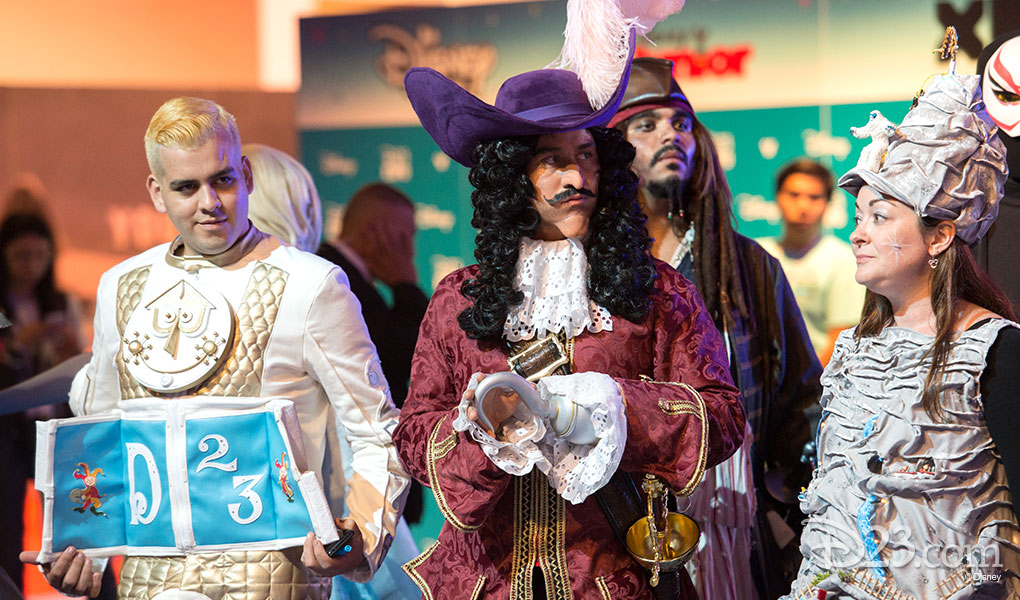 photo of three D23 Expo 2015 Guests Dressed as Captain Hook and Other Characters