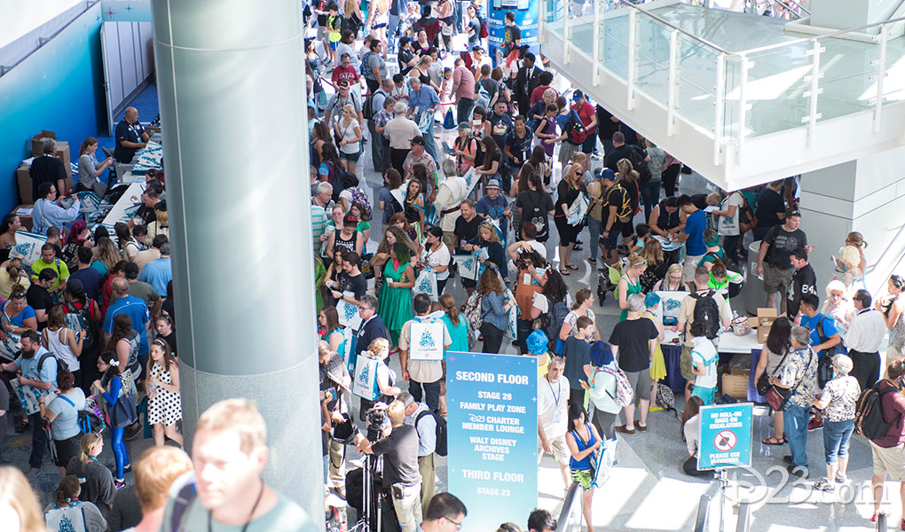 photo of crowds at Anaheim Convention Center for D23 Expo 2015 on Friday August 14 2015