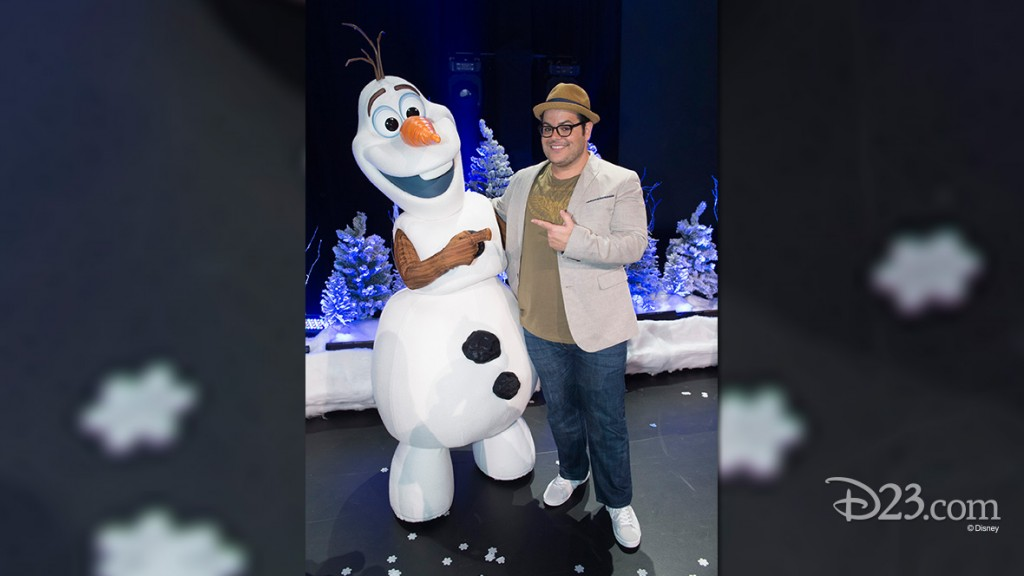 photo of Josh Gad with Life-Size Olaf Character