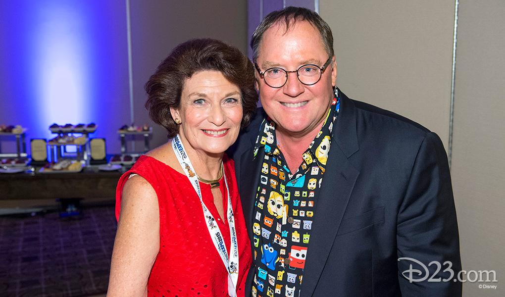 photo of Julie Reihm Casaletto and John Lasseter at Disney Legends Awards reception