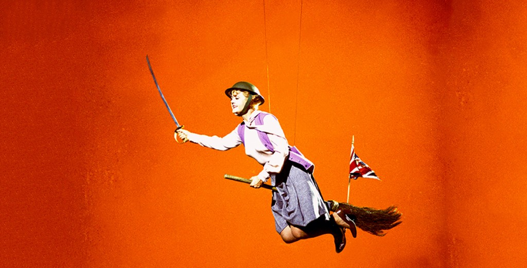 Angela Lansbury flying on a broom in Bedknobs and Broomsticks