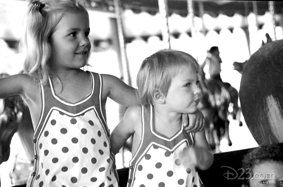 photo of two of Walt Disney's daughters enjoying the carousel Griffth Park in the early 1930s.
