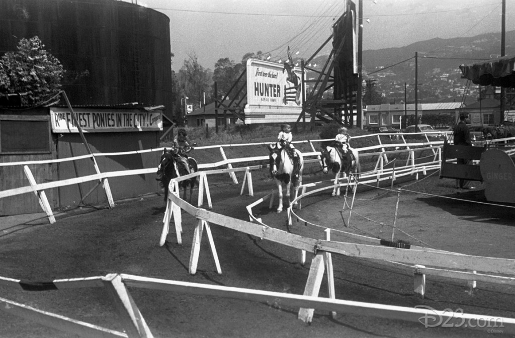 Walt shot this image of his children at Beverly Ponyland, taken in 1947. Was he dreaming up his own, better version of a place where adults and children could have fun together?